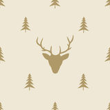 Christmas reindeer seamless line pattern tile Stock Photography
