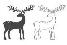 Christmas reindeer, set on white background Royalty Free Stock Images