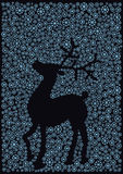 Christmas reindeer silhouette. Color illustration of deer silhouette of snow flakes Stock Photo