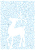 Christmas reindeer silhouette of snow flakes Royalty Free Stock Photo