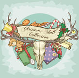 Christmas Reindeer Skull label design Royalty Free Stock Photos