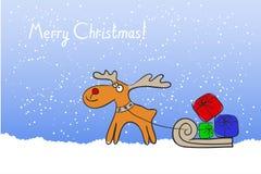 Christmas Reindeer with a sleigh Stock Photography