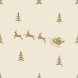 Christmas reindeer sleight seamless line pattern Royalty Free Stock Photo