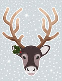 Christmas Reindeer with Snow Royalty Free Stock Photo