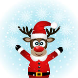 Christmas Reindeer. Christmas reindeer with snowflakes. Funny reindeer in a Santa suit. Vector illustration Royalty Free Stock Photography