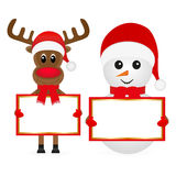 Christmas reindeer and snowman Royalty Free Stock Image