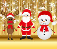 Christmas reindeer snowman and Santa Claus Stock Photos