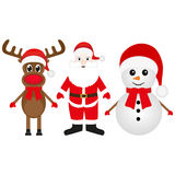 Christmas reindeer, snowman and Santa Claus Stock Image