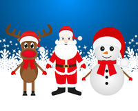 Christmas reindeer, snowman and Santa Claus Stock Photography