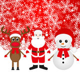 Christmas reindeer, snowman and Santa Claus Stock Images