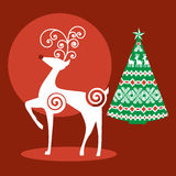 Christmas reindeer tree Royalty Free Stock Photo
