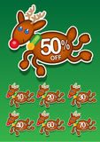 Christmas Reindeer Vector Discount Stickers Stock Photo