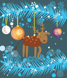 Christmas reindeer. Vector graphic card with nice funny reindeer toy and christmas decoration Stock Image