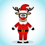 Christmas Reindeer. Christmas Reindeer  on white background. Funny reindeer in a Santa suit. Vector illustration Royalty Free Stock Photos
