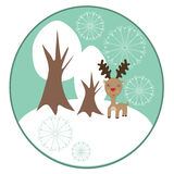 Christmas reindeer with winter trees. Background Royalty Free Illustration