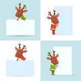 Christmas Reindeers with posters Stock Photography