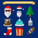 Christmas Related Graphic Illustration Package Set Vector Royalty Free Stock Image
