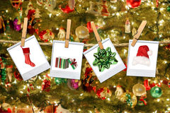 Christmas Related Images Hanging on a Rope royalty free stock photography