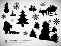 Christmas Related Silhouettes Stock Photo