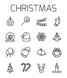 Christmas related vector icon set. Well-crafted sign in thin line style with editable stroke. Vector symbols isolated on a white background. Simple pictograms Stock Images