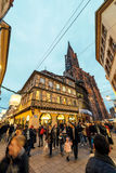 Christmas Restaurant and Holiday hotel  with Notre-Dame view. STRASBOURG, FRANCE - DEC 06, 2015: Place de la Cathedralee with impressiove view over hte Notre Royalty Free Stock Image