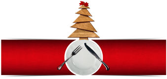 Christmas Restaurant Menu Banner. Two red velvet backgrounds with empty white plate, silver cutlery and wooden Christmas tree with red comet. Template for a Stock Images