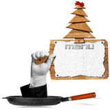 Christmas Restaurant Menu. Hand come out from a pan and holding a wooden cutting board with sheet of white paper and wooden Christmas tree with red comet royalty free illustration
