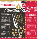 Christmas restaurant menu template. With Christmas design elements. Holiday dinner menu design concept for restaurant or cafe bar. Food and drinks theme Stock Photo