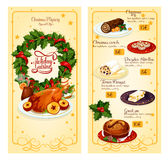 Christmas restaurant menu template design. Christmas holidays restaurant menu with prices template design Royalty Free Stock Photo