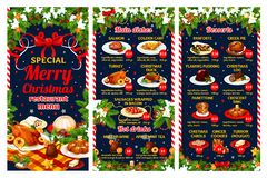 Christmas restaurant menu of winter holiday dinner. Christmas cuisine restaurant menu template of winter holiday festive dinner dishes. Turkey, fish and sausage Stock Image