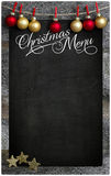 Christmas Restaurant Menu Wooden Blackboard Copy Space royalty free stock images