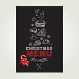 Christmas restaurant and party menu, invitation. Royalty Free Stock Images