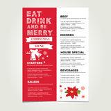 Christmas restaurant and party menu, invitation. Stock Image