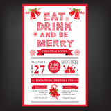 Christmas restaurant and party menu, invitation. Royalty Free Stock Photos