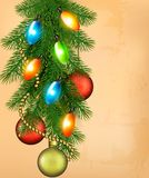 Christmas retro background with balls and fir bran Royalty Free Stock Images