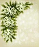 Christmas retro background with christmas tree bra Royalty Free Stock Photography