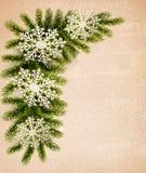 Christmas retro background with christmas tree bra Stock Photography