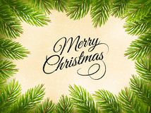 Christmas retro background with a green  tree branches. Vector Stock Photo