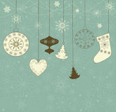 Christmas retro background with toys. Royalty Free Stock Photography