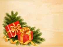 Christmas retro background with tree branches and  Stock Photos