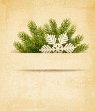 Christmas retro background with tree branches and  Royalty Free Stock Images