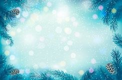 Christmas retro background with tree branches and  Stock Images