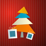 Christmas Retro Background. With Tree Made from Sheets of Paper on Red Cardboard vector illustration