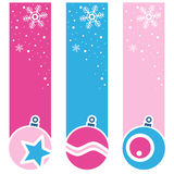 Christmas Retro Balls Vertical Banners. A collection of three Christmas vertical banners with retro balls on pink and blue background. Eps file available Royalty Free Stock Photos