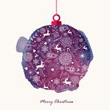 Christmas retro bauble watercolor greeting card. Retro Christmas bauble hand drawn over watercolor texture illustration. EPS10 vector file organized in layers Stock Images