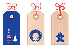 Christmas retro blank Tags. Vector Christmas Tags collection for your gift Royalty Free Stock Images