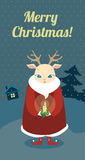 Christmas retro card with deer Stock Images