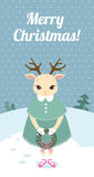 Christmas retro card with deer Stock Image