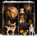 Christmas retro collage with toys and decorations Stock Photography
