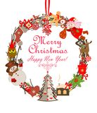 Christmas retro decorative wreath Royalty Free Stock Photography
